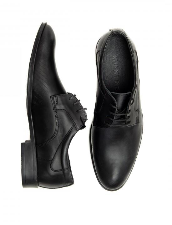 Официални мъжки обувки в черен цвят и шагренирана кожа