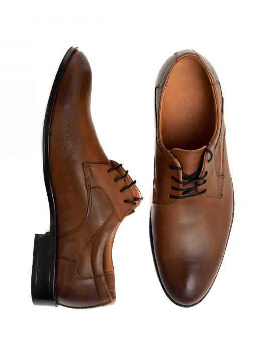 Официални мъжки обувки в кафяво с преливащ ефект и шагренирана кожа