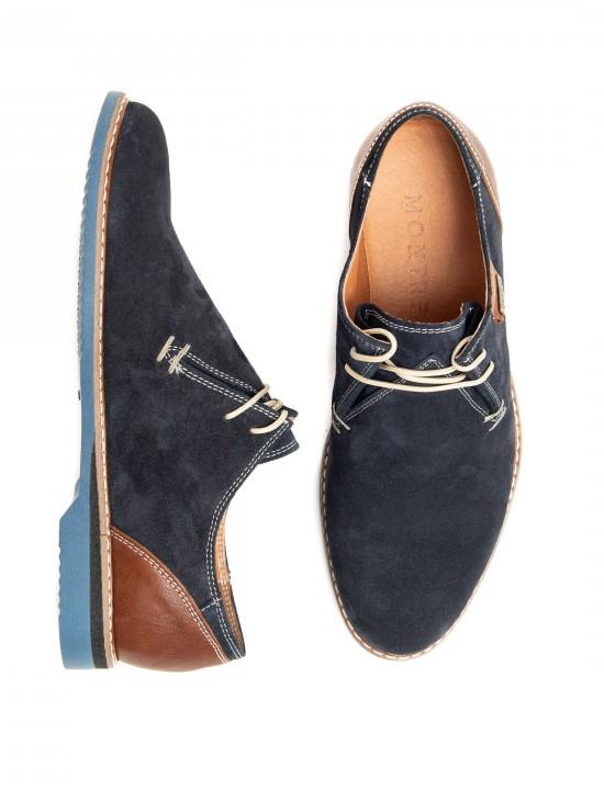 Спортно-елегантни мъжки обувки кафява кожа и син велур