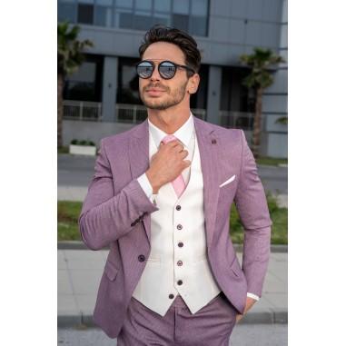 Втален мъжки костюм бордо с бял елек