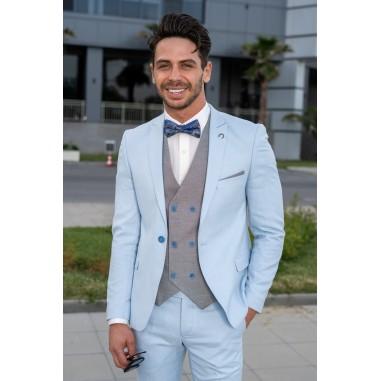 Втален мъжки костюм небесносин със сив елек
