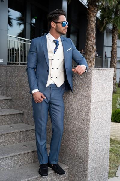Втален мъжки костюм син с елек айвъри