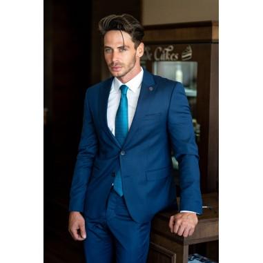 Втален мъжки костюм син в две части