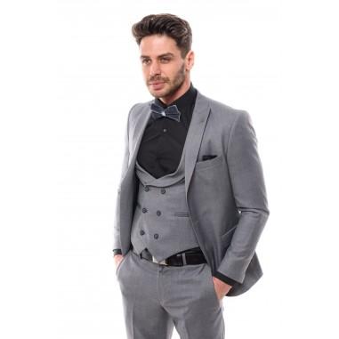 Втален сив костюм със структура на плата три части