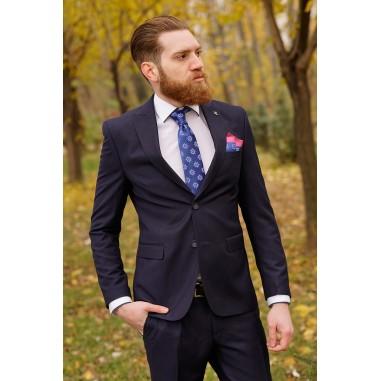 Втален мъжки костюм тъмносин в две части