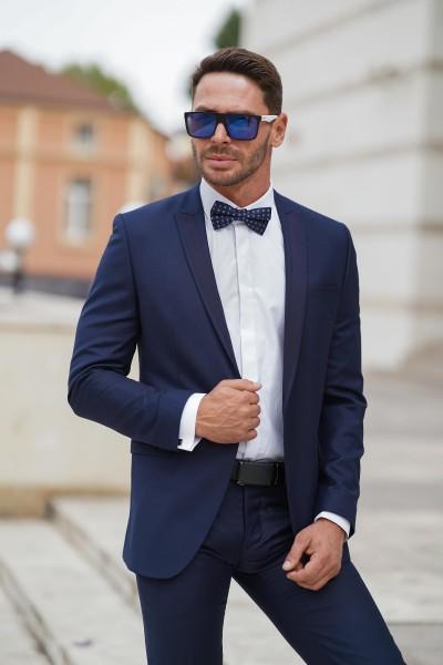 Втален мъжки костюм тъмносин смокинг