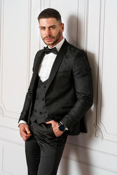 Втален мъжки костюм черен смокинг ЖАКАРД
