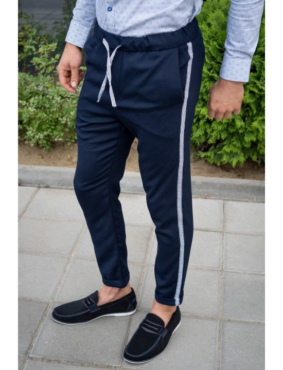 Втален мъжки тъмносин панталон с кант и еластан