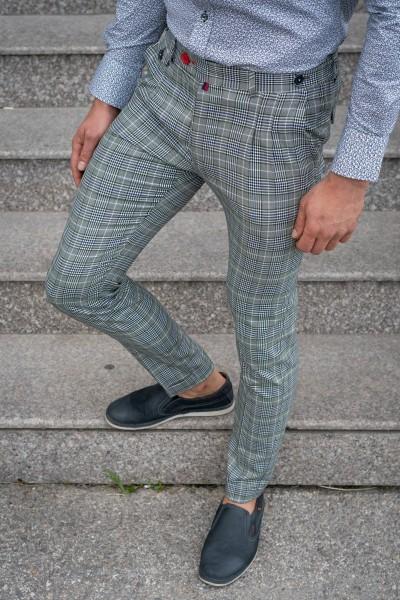 Втален мъжки панталон сивозелен каре с басти