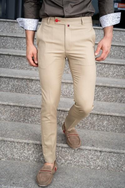 Втален мъжки панталон в цвят камел със структура и еластан