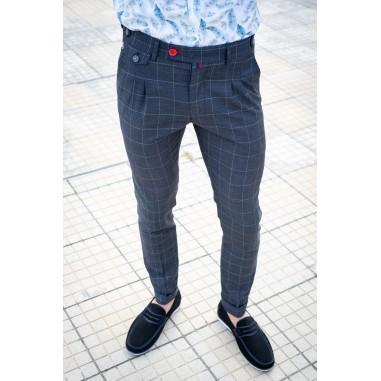 Втален мъжки панталон графит каре с басти