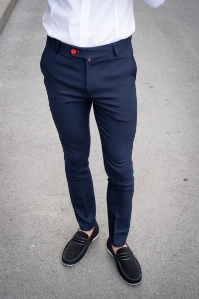 Втален мъжки панталон тъмносин със структура и еластан