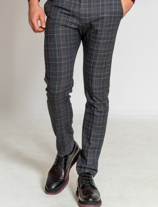 Втален мъжки панталон в сиво и кафяво каре