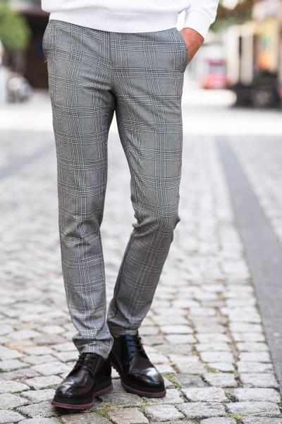 Втален мъжки панталон светло сиво каре