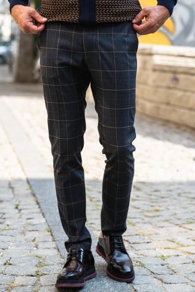 Втален мъжки панталон графит каре