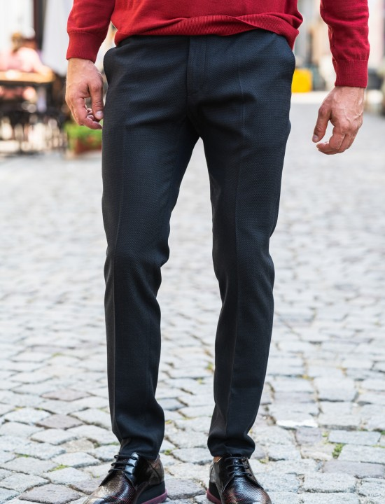 Втален мъжки панталон графит с еластан