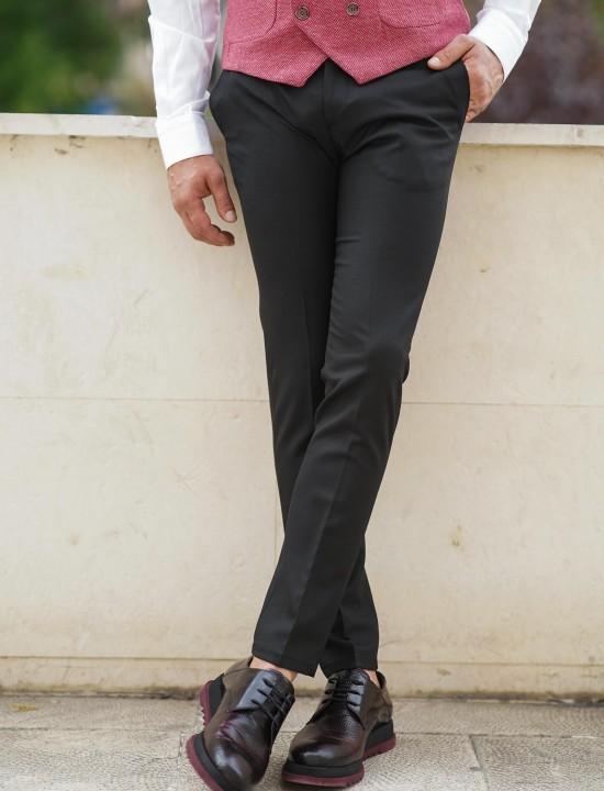 Втален мъжки черен панталон