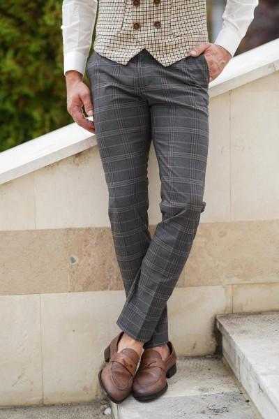 Втален мъжки панталон сив с бежово каре