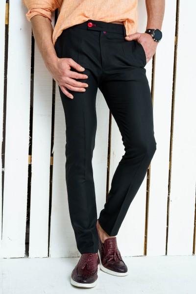 Втален мъжки панталон черен със структура и еластан