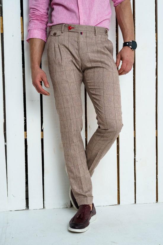 Втален мъжки панталон в бежово-розов цвят и басти