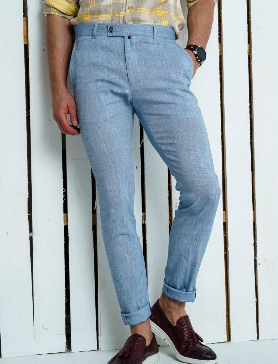 Втален мъжки панталон светлосин ЛЕН