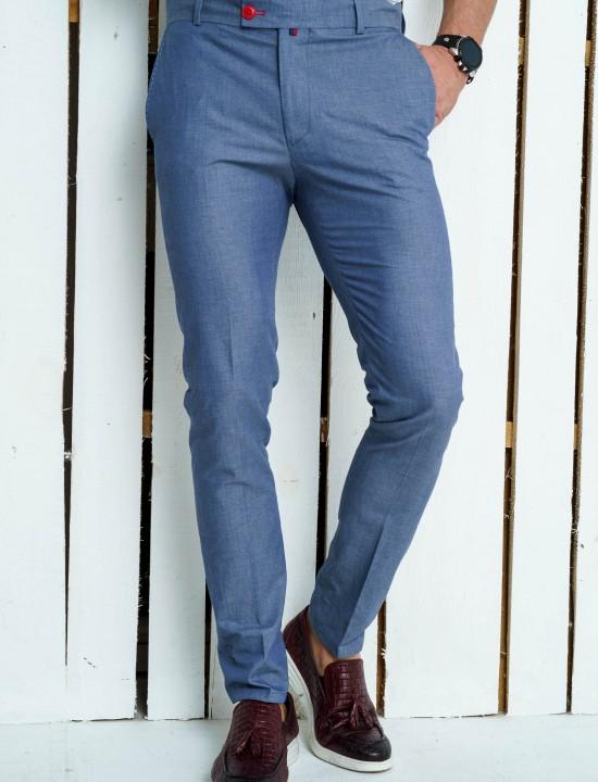 Втален мъжки панталон син цвят