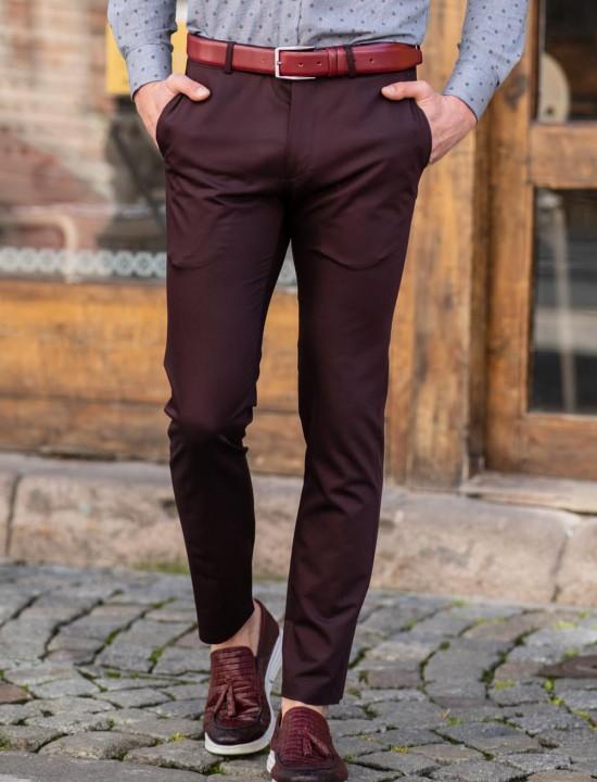 Втален мъжки панталон в цвят бордо