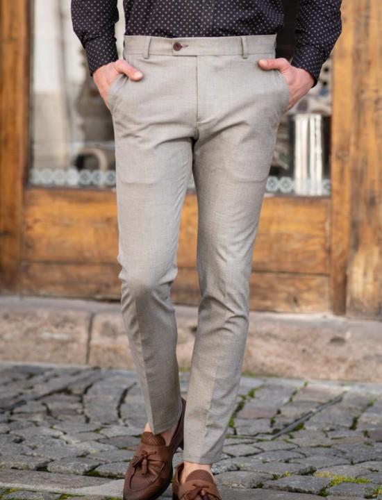 Втален мъжки панталон в светлосив цвят