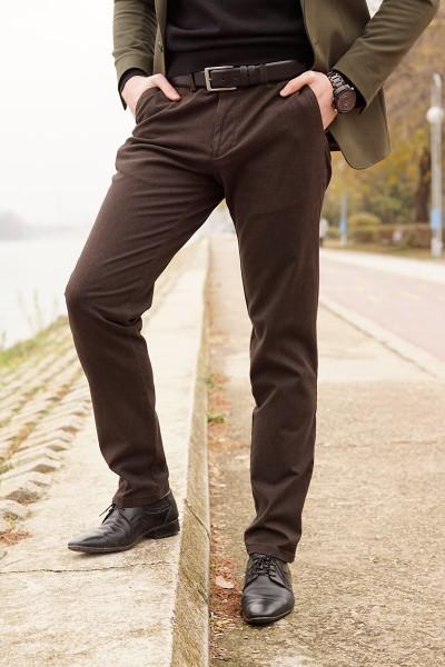 Мъжки панталон Regular в цвят кафяво