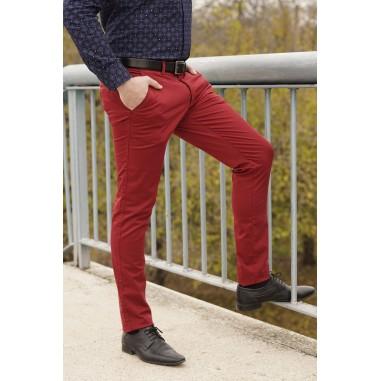 Втален мъжки панталон в червен цвят