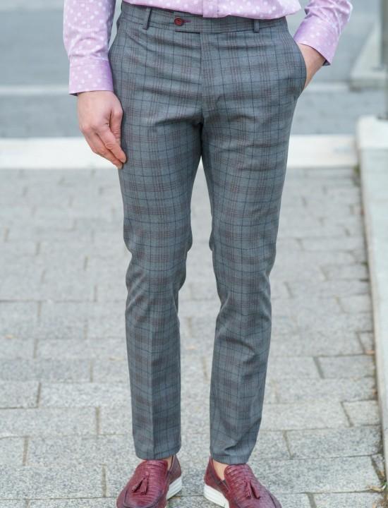Втален мъжки панталон сивосин каре