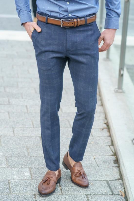 Втален мъжки панталон тъмносин със сиво каре