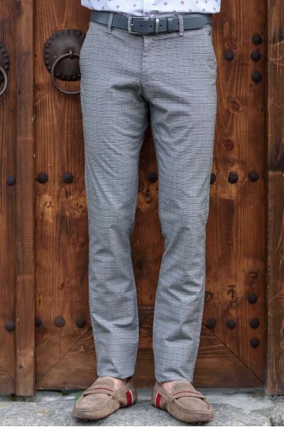 Втален мъжки панталон сиво каре