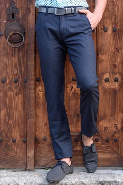 Втален мъжки панталон тъмносин с еластан