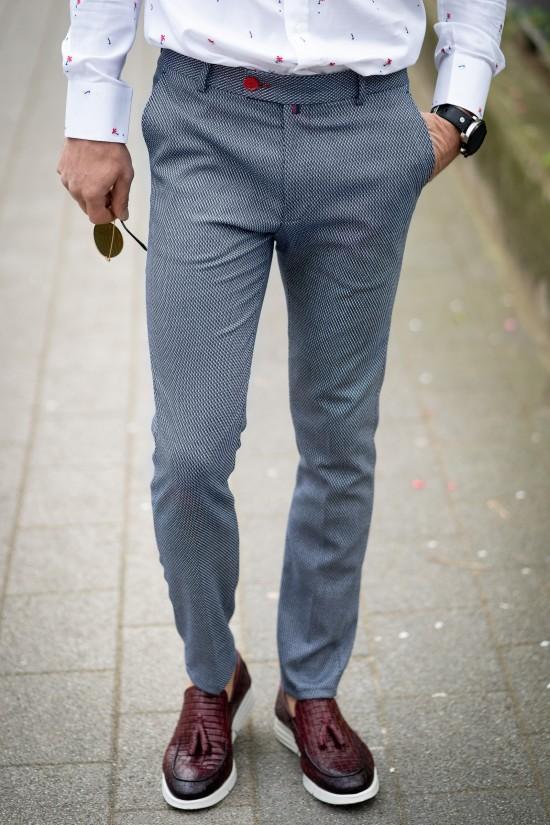 Втален мъжки панталон сив пипит с еластан