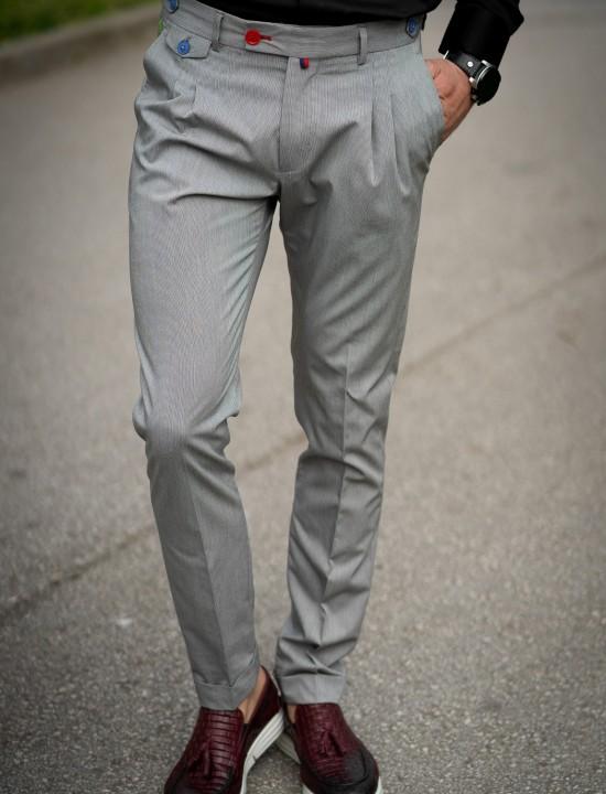 Втален мъжки панталон в сив цвят с басти и структура
