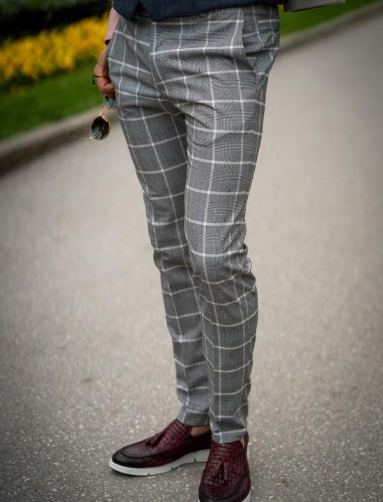 Втален мъжки панталон в цвят светлосиво каре с еластан
