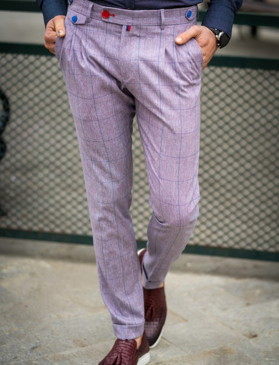 Втален мъжки панталон в цвят пепел от рози с басти и еластан