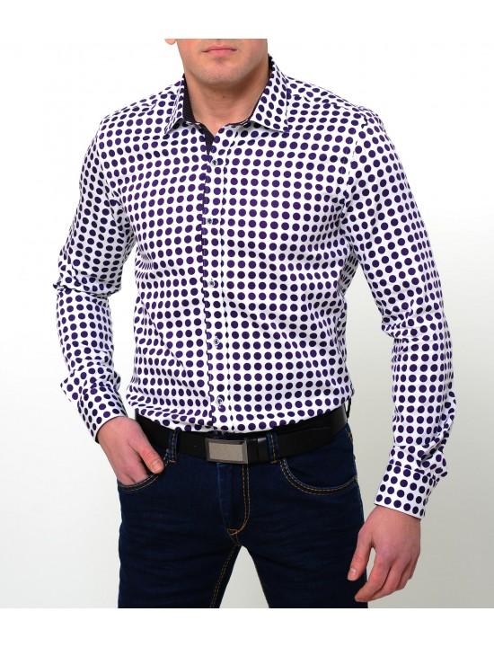 Риза бяла на лилави точки