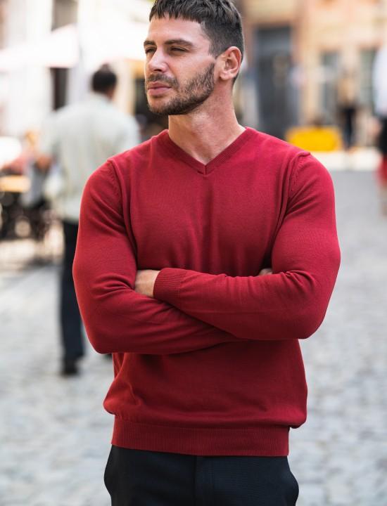Мъжки пуловер в червен цвят