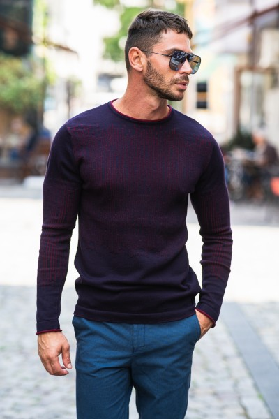 Мъжки пуловер тъмносин с бордо