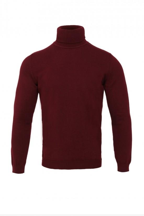 Вталено мъжко поло в цвят Бордо