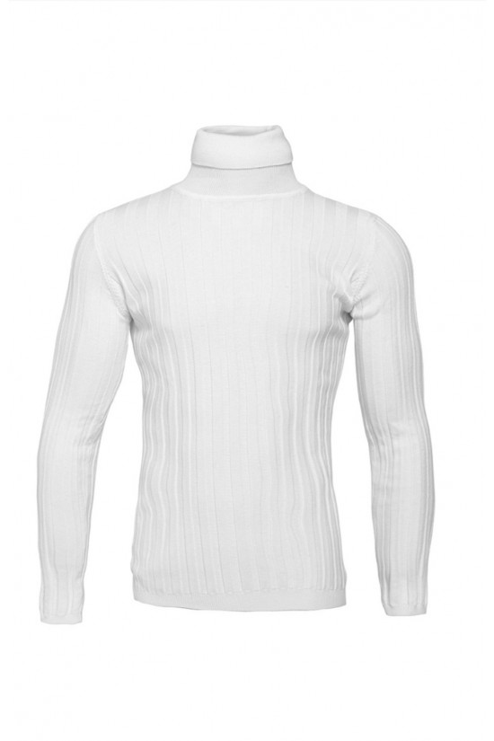 Вталено мъжко поло бяло широк Рипс
