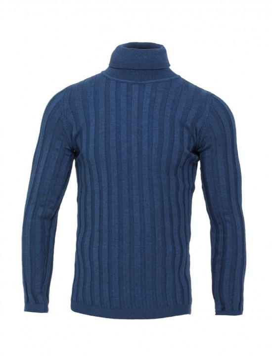Вталено мъжко поло в син цвят широк Рипс