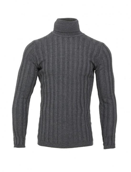 Вталено мъжко поло в сив цвят широк Рипс
