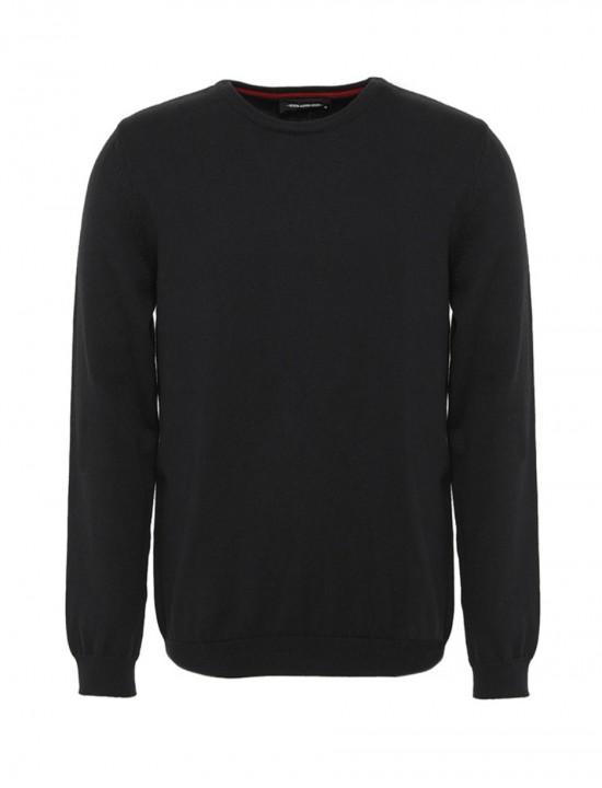 Втален мъжки пуловер в черен цвят