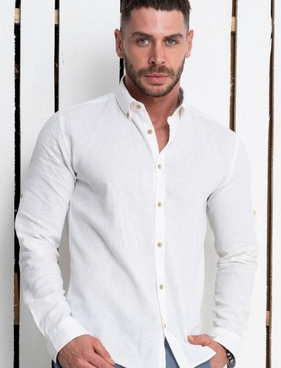ccd169a0b46 Вталена мъжка риза бяла ЛЕН