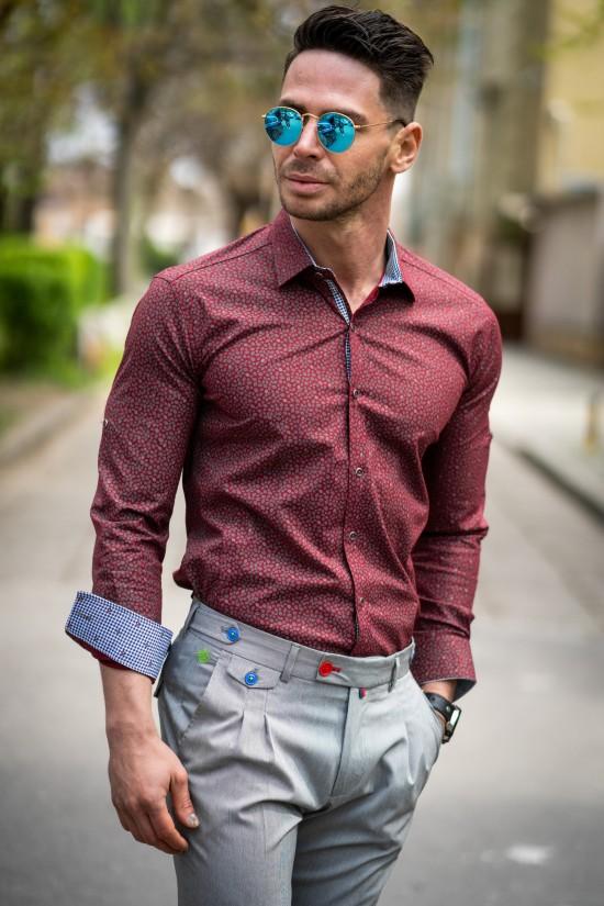Вталена мъжка риза бордо с елегантни детайли и еластан