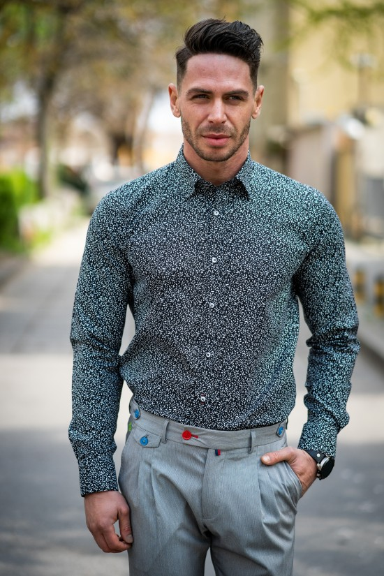 Вталена мъжка риза черна с елегнтна декорация
