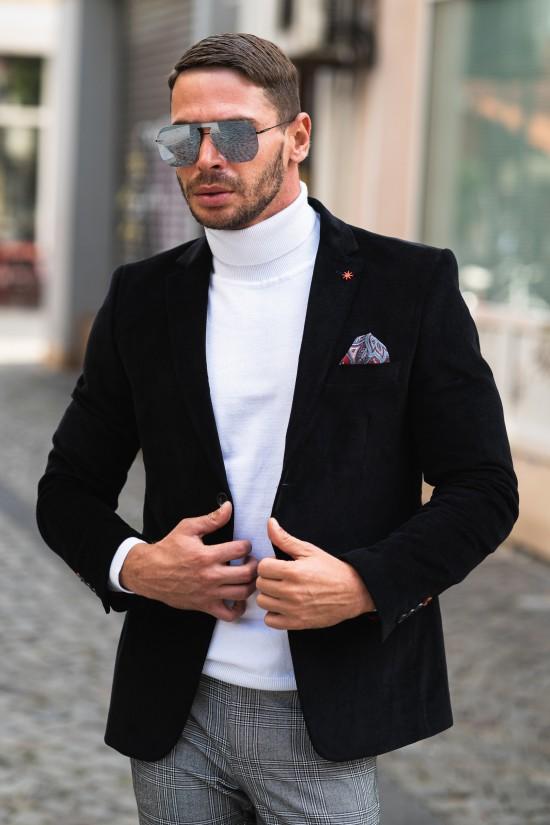 Вталено мъжко сако черно кадифе